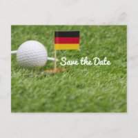 Golf Save the Date with flag of German on green Invitation Postcard