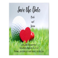 Golf  Save the date with golf and heart Magnetic Invitation