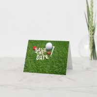 Golf save the Date with golf and tee on green Invitation