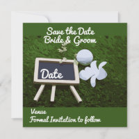 Golf Save the Date with golf ball and flower