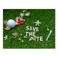 Golf Save the date with golf ball and flowers Postcard