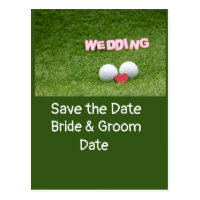 Golf save the Date with golf ball and heart Card