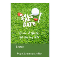 Golf Save the date with golf ball and heart Invitation