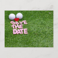 Golf save the date with golf ball and heart invitation postcard