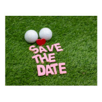 Golf save the Date with golf ball and heart Postcard