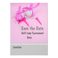 Golf Save the Date with Golf ball and pink ribbon Invitation