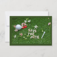 Golf Save the Date with golf ball and red heart