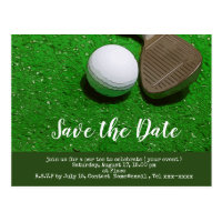 Golf save the date with golf ball and sand wedge postcard