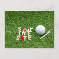 Golf Save the Date with golf ball and tee Announcement Postcard