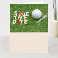 Golf Save the Date with golf ball and tee Card