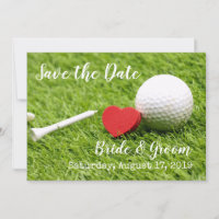 Golf Save the date with golf ball and tee & love