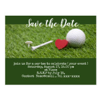 Golf save the date with golf ball and tees postcard