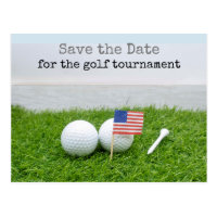 Golf Save the date with golf ball and U.S.A.flag Postcard