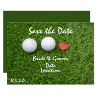 Golf Save the Date with golf ball in love on green Invitation