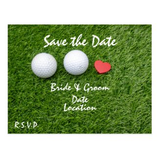 Golf Save the Date with golf ball in love on green Postcard