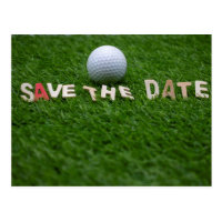 Golf save the date with golf ball on green grass postcard