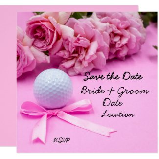 Golf save the date with golf ball pink roses invitation