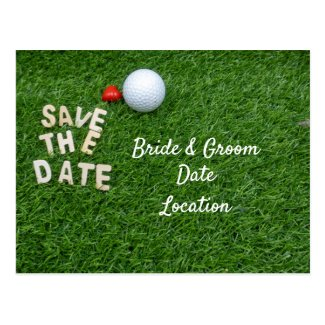 Golf save the date with golf ball with love Card