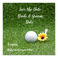 Golf Save the Date with golf ball & Yellow flower Invitation
