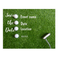 Golf Save the Date with golf balls on green grass Postcard