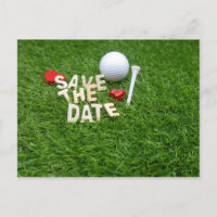 Golf save the date with golf heart and tee invitation postcard