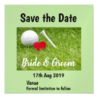 Golf Save the date with heart and golf ball Magnetic Invitation