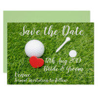 Golf Save the Date with love and golf ball Invitation