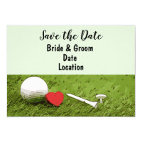 Golf Save the Date with love on green grass Invitation