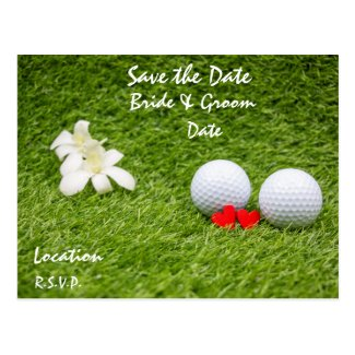 Golf save the Date with love on green Postcard