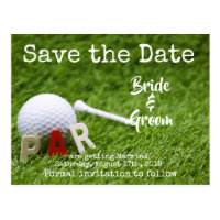Golf Save the date with Par on green Postcard