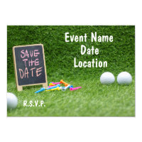 Golf Save the date with sign and golf ball and tee Invitation