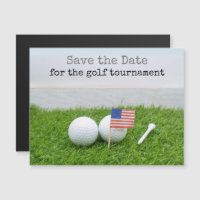 Golf save the date with U.S.A. flag and golf balls