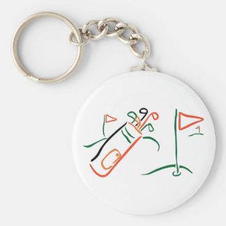 Golf Scene Basic Round Button Keychain