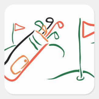 Golf Scene Square Sticker