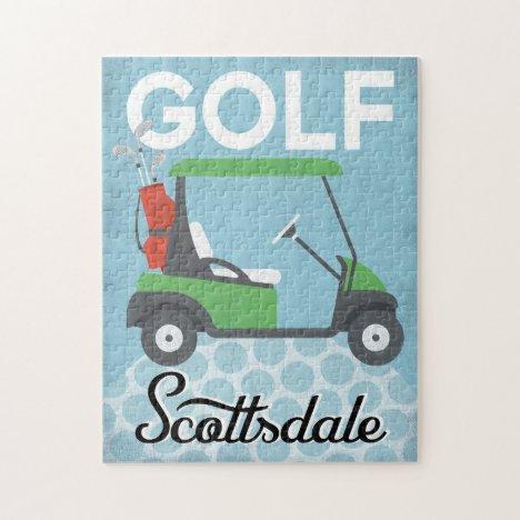 Golf Scottsdale Arizona - Retro Vintage Travel Jigsaw Puzzle
