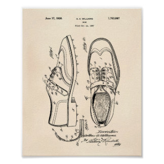 Golf Shoe 1927 Patent Art - Old Peper Poster