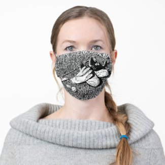 Golf shoe and golf ball on black and white ink  adult cloth face mask