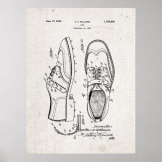 Golf Shoes 1930 Patent Print