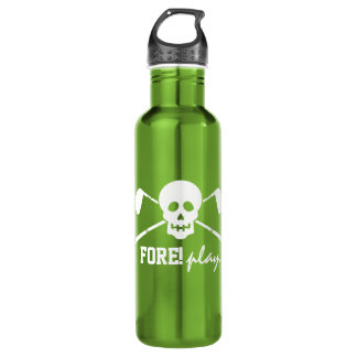 Golf Skull Bad Boys - Fore! Play - Golf Flask Water Bottle