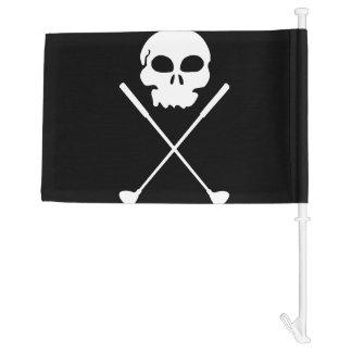 Golf Skull Crossed Clubs Car Flag