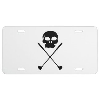 Golf Skull Crossed Clubs License Plate