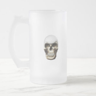 Golf Skull Frosted Glass Beer Mug