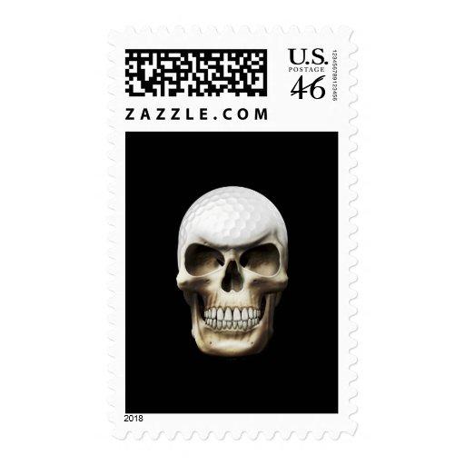 Golf Skull Postage Stamp