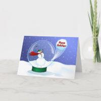 Golf Snowman Snow Globe Holiday Card