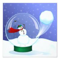 Golf Snowman Snow Globe Invitations