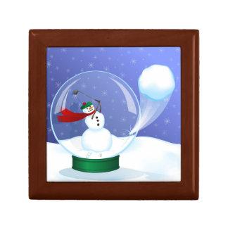 Golf Snowman Snow Globe Jewelry Box