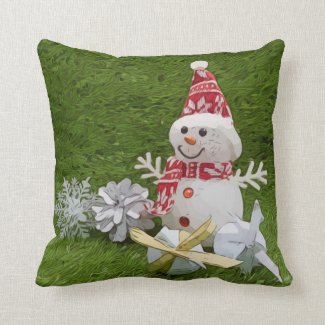 Golf Snowman with golf ball and Christmas ornament Throw Pillow