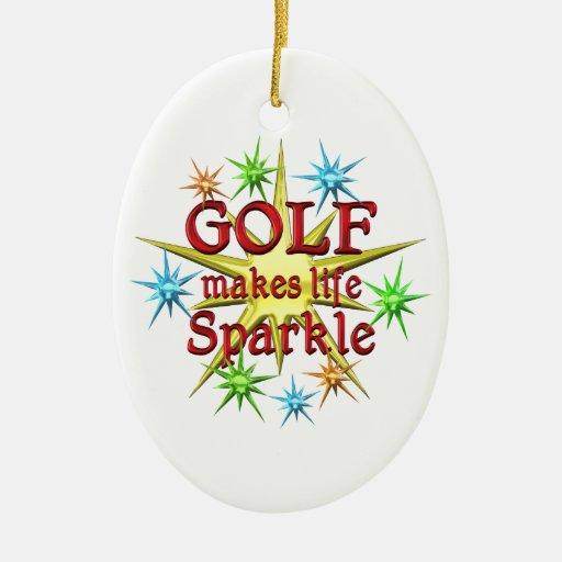Golf Sparkles Double-Sided Oval Ceramic Christmas Ornament