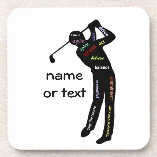 Golf, Sport, Motivational Words Drink Coaster