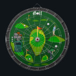 "Golf Sports Dartboard<br><div class=""desc"">An awesome golf inspired dartboard perfect for the golf or sports fan of the family. Features an array of golf targets and hazards. Great for traditional dart games, for making new ones of your own, or as a cool golf art display. Fully customizable to add names, images, and more to...</div>"